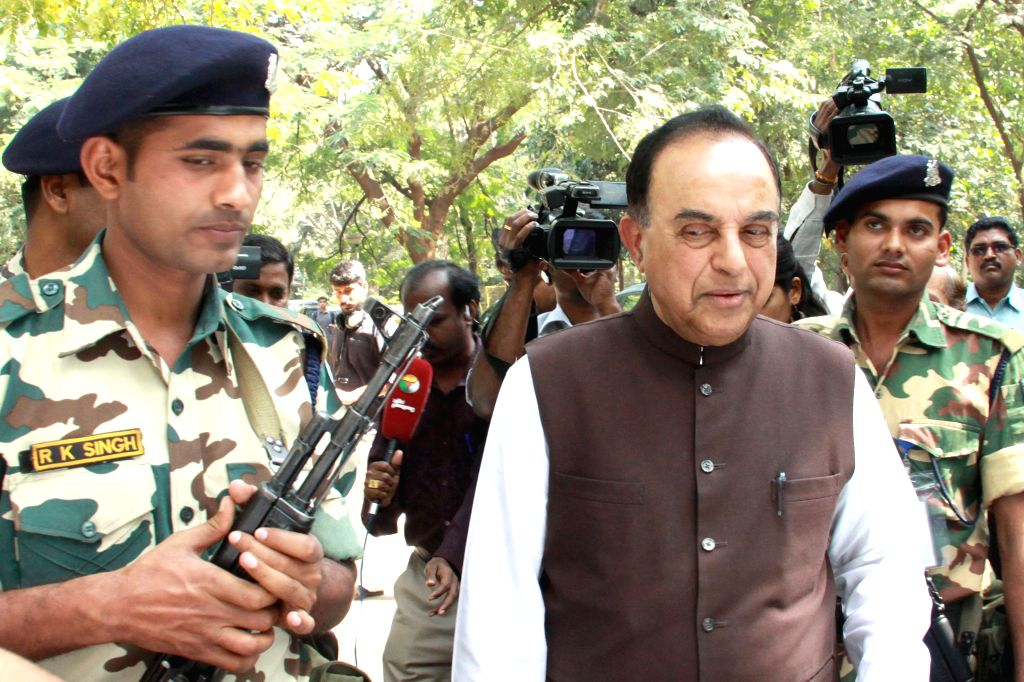 BJP leader and the original complainant in disproportionate assets case against former Tamil Nadu Chief Minister Jayalalithaa, Subramanian Swamy arrives at Karnataka High Court, in ... - Jayalalithaa