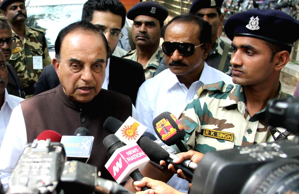 BJP leader and the original complainant in disproportionate assets case against former Tamil Nadu Chief Minister Jayalalithaa, Subramanian Swamy addresses press at Karnataka High Court, in - Jayalalithaa