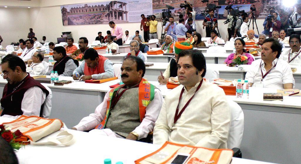 BJP leader Varun Gandhi during the BJP National Executive Committee meeting in Bengaluru, on April 3, 2015. - Varun Gandhi