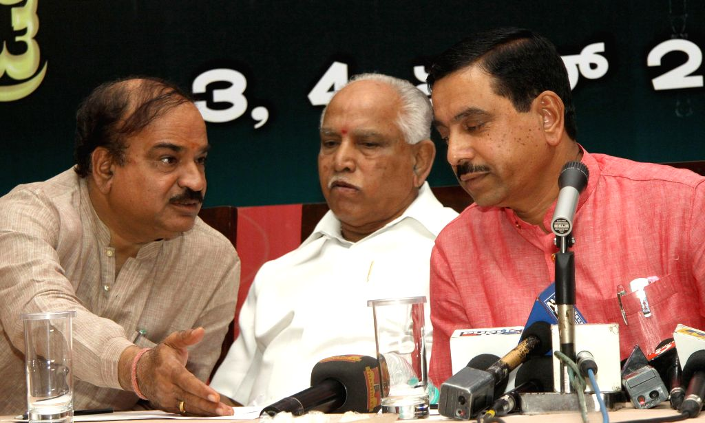 BJP leaders Ananth Kumar, BS Yedduyurappa and Prahlad Joshi during a press conference in Bengaluru, on April 1, 2015. - Ananth Kumar and Prahlad Joshi