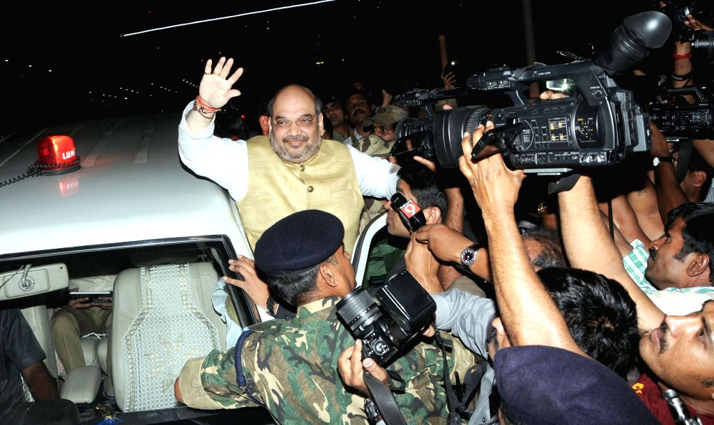 BJP president Amit Shah arrives for three day BJP National executive meeting, in Bengaluru on April 1, 2015.