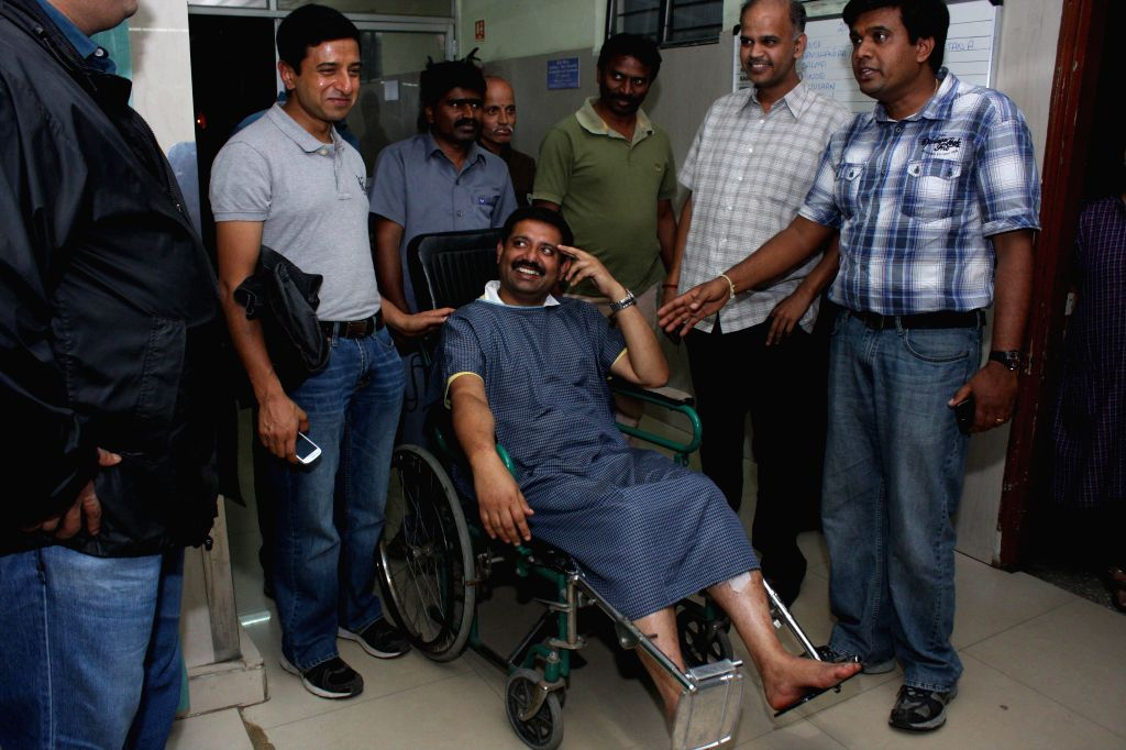 Blast victims who were injured in a low intensity bomb blast that rocked Church Street area in Bengaluru, getting treatment at a city hospital on Dec. 28, 2014.