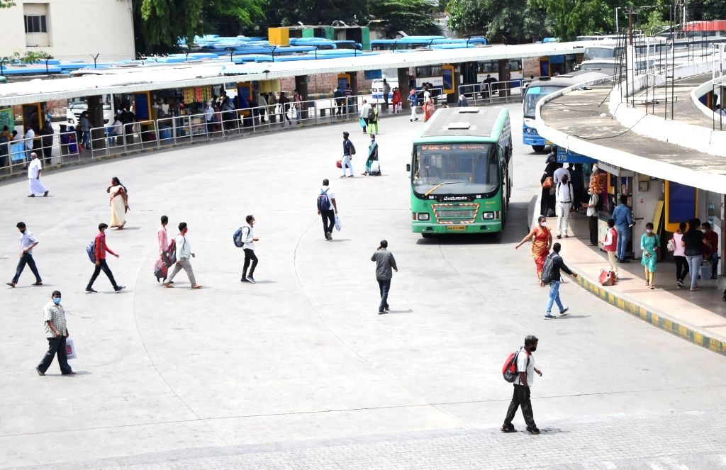 Bengaluru : BMTC bus stands look deserted,  after the Karnataka government eased restrictions for travel amid ongoing Coronavirus lockdown, in Bengaluru on Friday, June 25, 2021