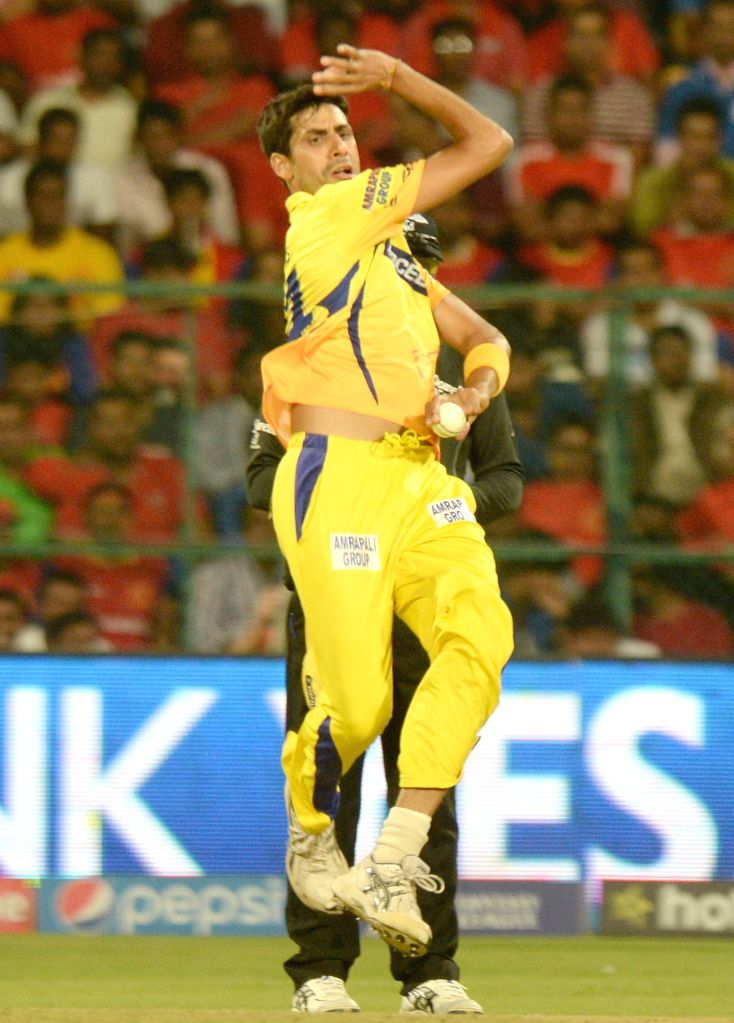 Chennai Super Kings bowler Ashish Nehra in action during an IPL-2015 match between Royal Challengers Bangalore and Chennai Super Kings at M Chinnaswamy Stadium, in Bengaluru, on April 22, ... - Ashish Nehra
