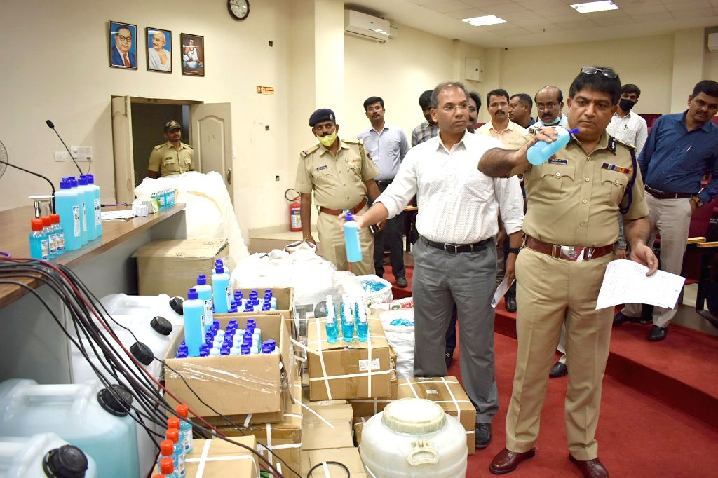Bengaluru City Police Commissioner Bhaskar Rao at the factory where duplicate sanitisers worth Rs 56 Lakhs have been seized by the city police in Bengaluru on March 20, 2020. This comes amid demand for products like sanitisers, masks and other health