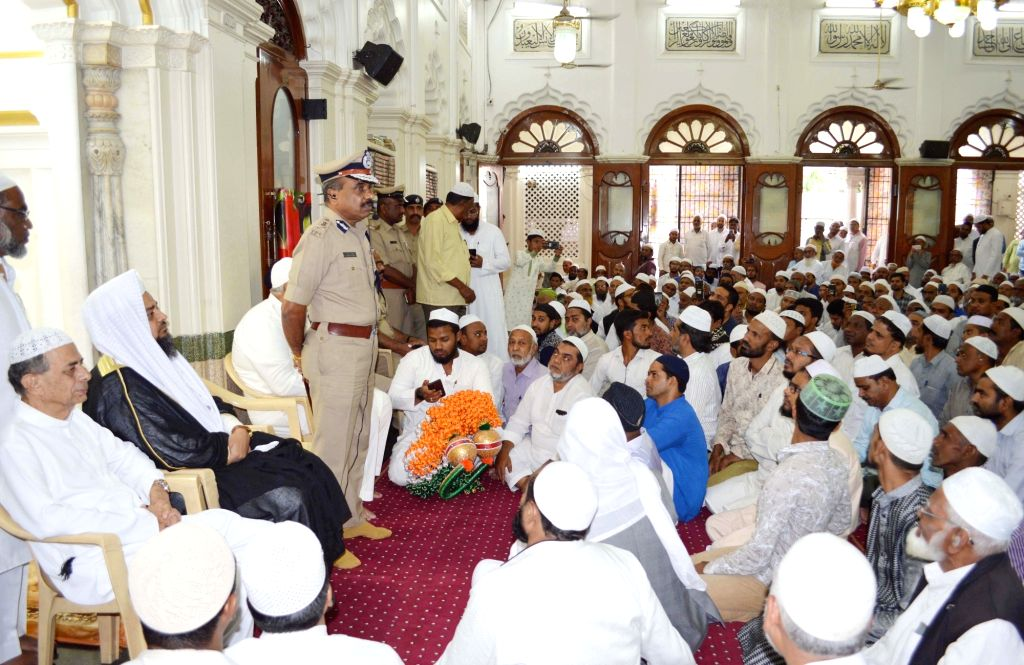 Bengaluru City Police Commissioner T. Suneel Kumar holds a meeting with religious leaders to brief them about the heightened safety measures that are in place as a precautionary measure, ...