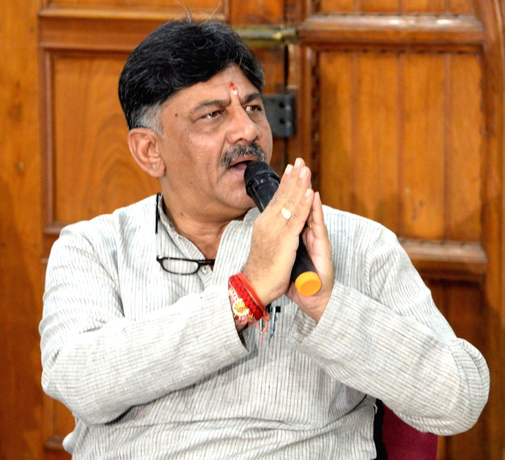Bengaluru: Congress leader D.K. Shivakumar addresses a press conference at his residence in Bengaluru on Aug 30, 2019. (Photo: IANS)