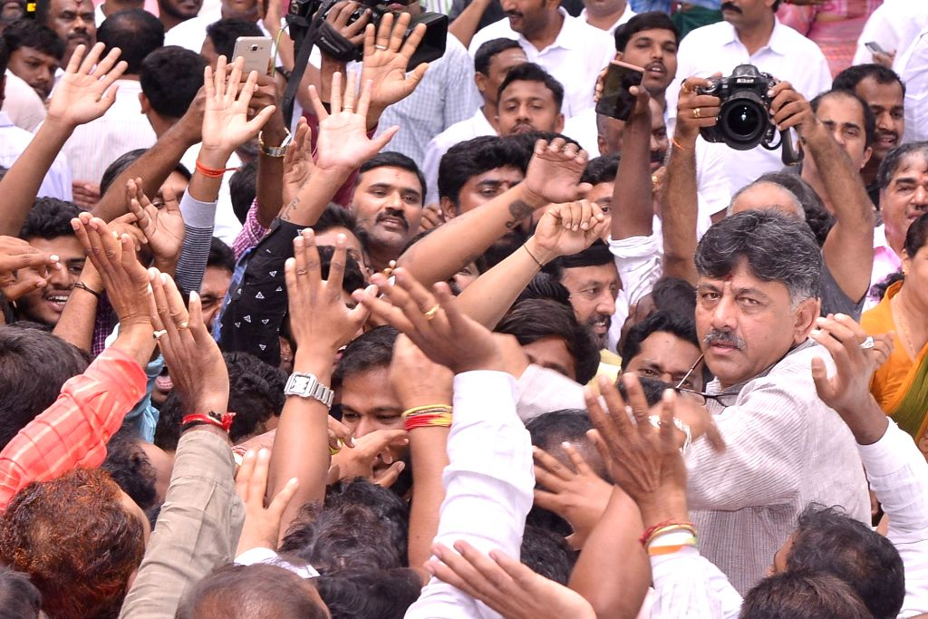 Bengaluru: Congress leader D.K. Shivakumar at his residence in Bengaluru on Aug 30, 2019. (Photo: IANS)