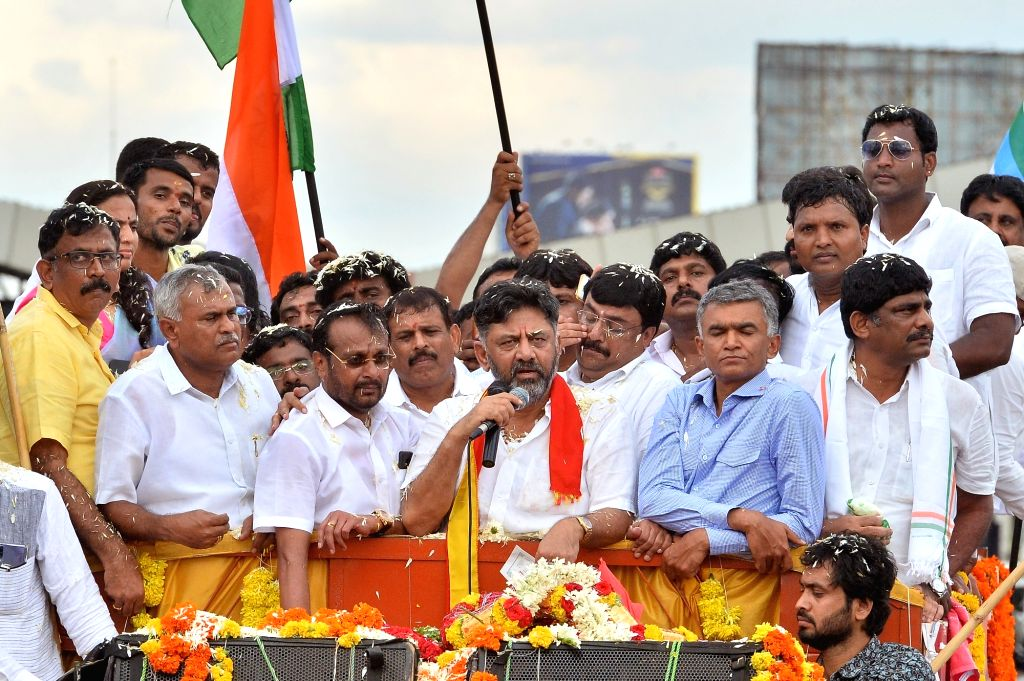 Bengaluru: Congress leader D.K. Shivakumar being accorded a warm welcome by party workers on his return to Bengaluru, Karnataka nearly two months after he flew to Delhi on being summoned by the Enforcement Directorate (ED) in a money laundering case,