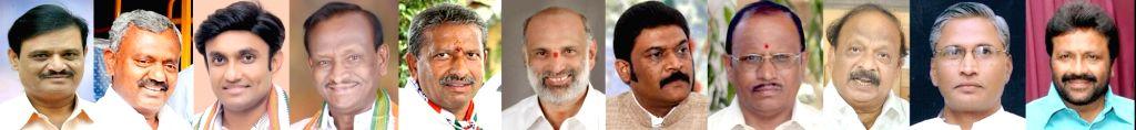 Bengaluru: Congress MLAs Muniratna, S T Somashekar, Sudhakar, MTB Nagaraj, Byrathi Basavaraju, Shivaram Hebbar, Anand Singh, Pratap Gowda Patil, Roshan Baig, Srimanth Patil and BC Patil who were disqualified by Karnataka Assembly speaker KR Ramesh, i - K, Anand Singh, Pratap Gowda Patil and Srimanth Patil