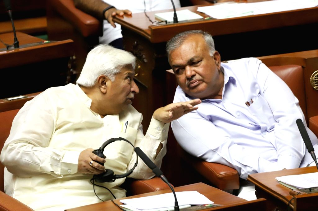 Bengaluru:  Congress MLAs Ramalinga Reddy and H K Patil in the state assembly where Chief Minister HD Kumaraswamy moved motion of confidence in Bengaluru on July 18, 2019. (Photo: IANS) - H K Patil and Ramalinga Reddy