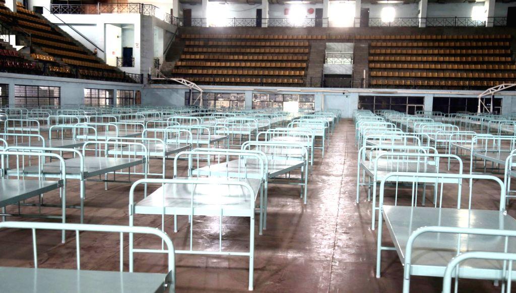 Bengaluru: Covid care centre set up at Koramangala indoor stadium, in Bengaluru on Thursday 18th March 2021.(Photo:IANS/Dhananjay Yadav) - Dhananjay Yadav