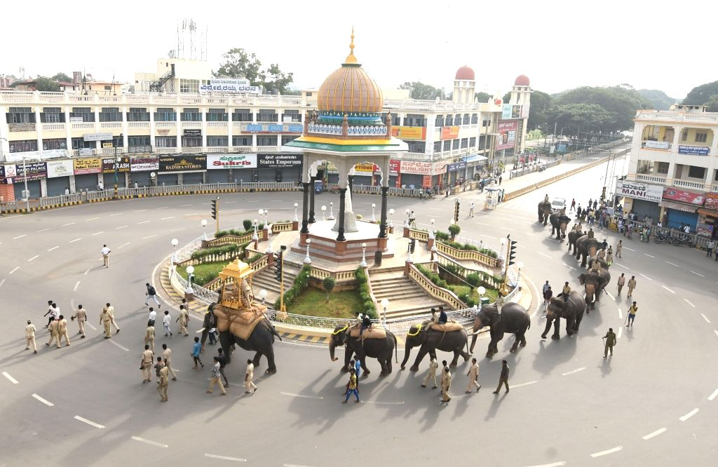 Bengaluru: Dasara Elephants during rehearsals for 'Jumboo Savari' ahead of Dussehra celebrations, in Mysuru on Sep 19, 2019. (Photo: IANS)