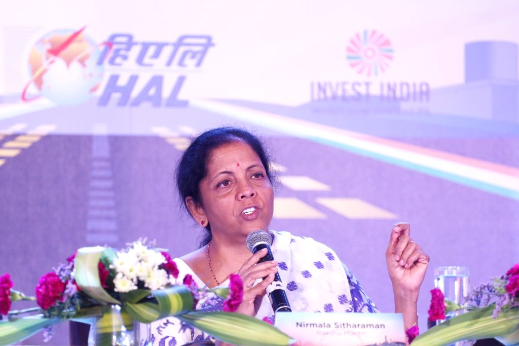 Bengaluru: Defence Minister Nirmala Sitharaman addresses a curtain raiser press conference, on the sidelines of the Aero India-2019, in Bengaluru on Feb 19, 2019. (Photo: IANS) - Nirmala Sitharaman