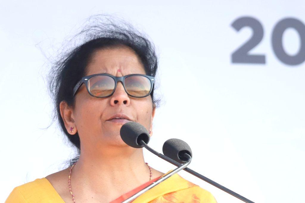 "Bengaluru: Defence Minister Nirmala Sitharaman addresses at the inauguration of the ""Aero India 2019"" - air show at Yelahanka Air Force Station, in Bengaluru, on Feb 20, 2019. (Photo: IANS) - Nirmala Sitharaman"