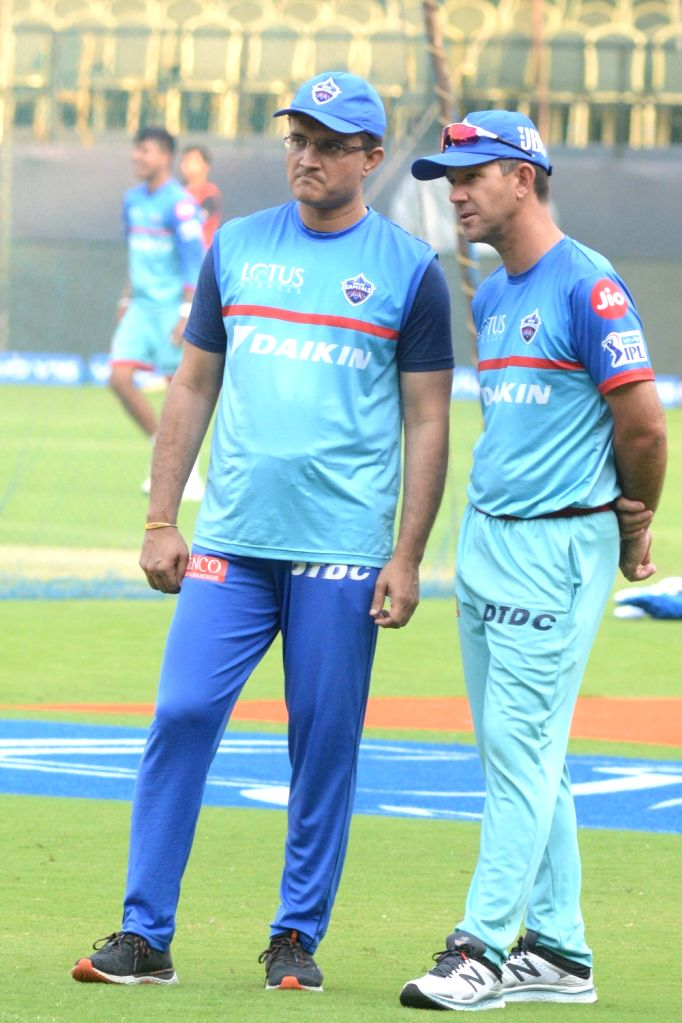 Bengaluru: Delhi Capitals' Sourav Ganguly and Ricky Ponting during a practice session ahead of an IPL 2019 match against Royal Challengers Bangalore in Bengaluru on April 6, 2019. (Photo: IANS) - Sourav Ganguly