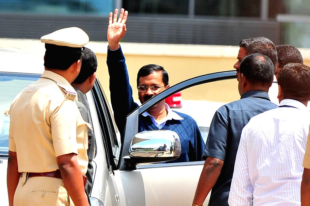 Delhi Chief Minister Arvind Kejriwal arrives at the Bengaluru International Airport in Bengaluru, on March 5, 2015. He is in Bengaluru for treatment at a private ayurvedic hospital. - Arvind Kejriwal