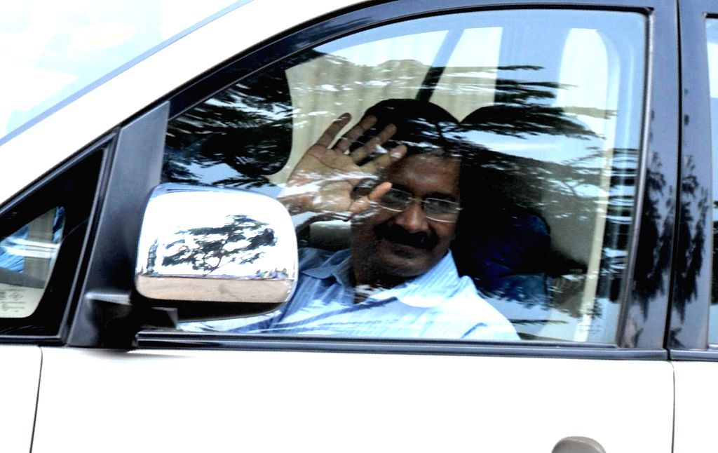 Delhi Chief Minister Arvind Kejriwal arrives at Jindal Naturecure Institute on Tumkur Road, where he will be spending 10 days for treatment of his cough and high blood sugar treatment, in ...