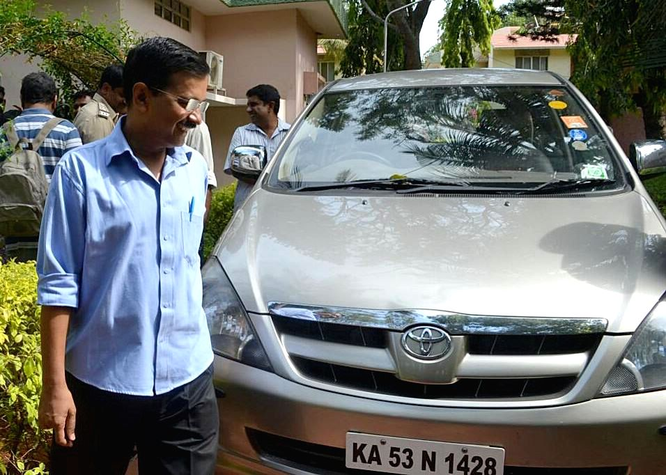 Delhi Chief Minister Arvind Kejriwal, who underwent a naturopathy treatment for his chronic cough and high blood sugar, leaves Jindal Naturecure Institute after being discharged in ...