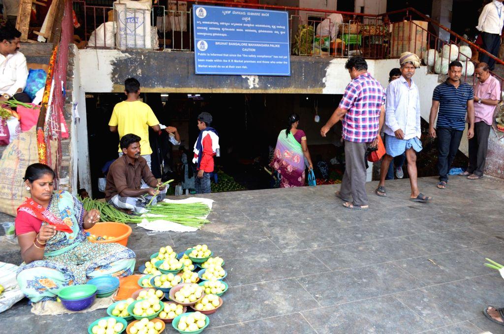 Bengaluru: Deserted look at Flower Market, KR Market amid CoronaVirus outbreak, in Bengaluru on Thursday, 19 March 2020. (Photo: IANS)