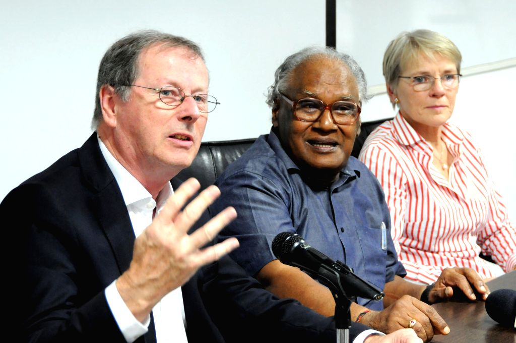 Eminent scientist and Bharat Ratna awardee Professor CNR Rao arrive to address a press conference regarding Commonwealth Science Conference 2014 at Jawaharlal Nehru Centre for Advanced ...