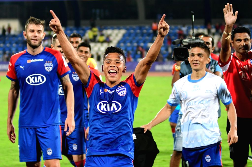 Bengaluru FC captain Sunil Chhetri celebrates with teammates after a 2-0 win over Jamshedpur FC in the Indian Super League (ISL) 2019 match at the Kanteerava Stadium in Bengaluru on Jan 9, ... - Sunil Chhetri