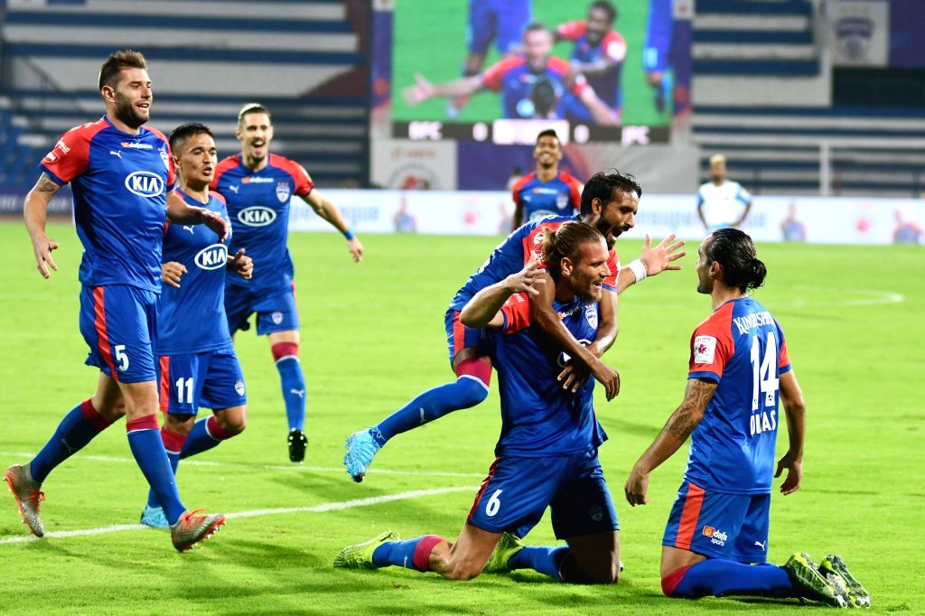 Bengaluru FC celebrate a goal during an Indian Super League (ISL) 2019 match between Bengaluru FC and Jamshedpur FC at the Kanteerava Stadium in Bengaluru on Jan 9, 2020. Bengaluru FC ...