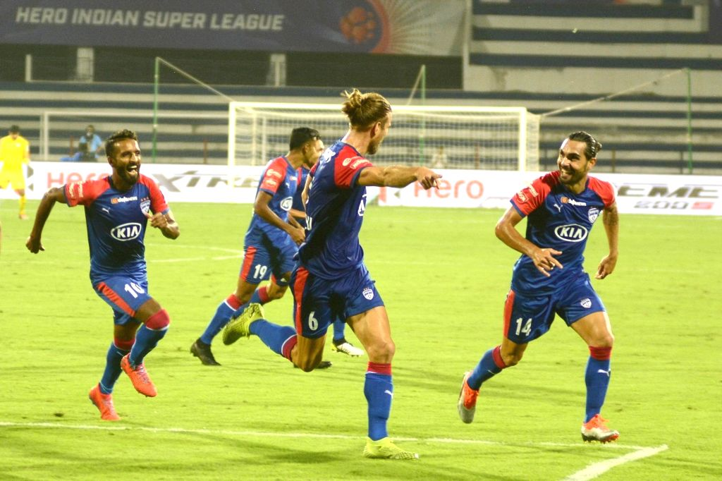 Bengaluru FC players celebrate after scoring a goal during an Indian Super League (ISL) match between Bengaluru FC and Chennaiyan FC at the Kanteerava Stadium in Bengaluru, on Nov 10, 2019.