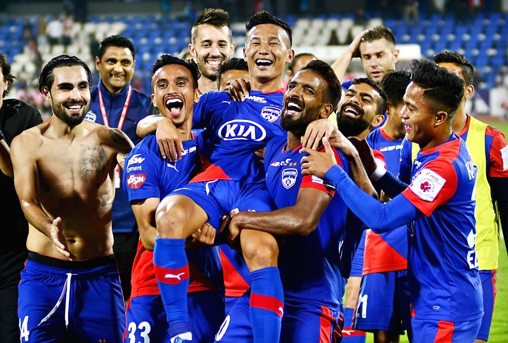 Bengaluru FC players celebrate their victory against NorthEast United FC during an 2018-19 ISL match at Kanteerava Stadium in Bengaluru, on Jan 30, 2019.