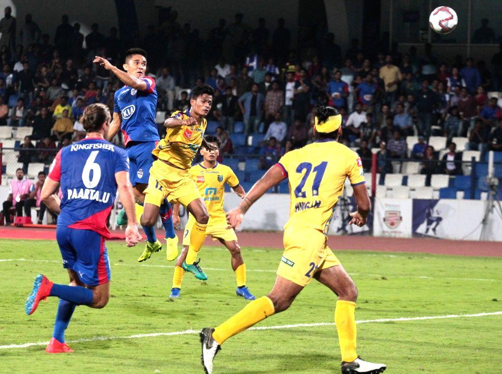 Bengaluru FC's Sunil Chhetri in actionduring an ISL 2018-19 match between BFC and Kerala Blasters FC at Kanteerava Stadium in Bengaluru on Feb 6, 2019.