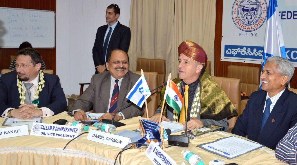 FKCCI Chairman S Sampathraman with the Ambassador of Israel in India, Daniel Carmon during an interactive session at FKCCI in Bengaluru on April 6, 2015. Also seen FKCCI Senior Vice ...