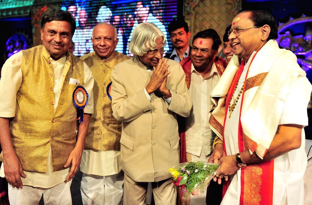 Former Indian President APJ Abdul Kalam during the silver jubilee celebrations of Vijaya College, in Bengaluru on March 30, 2015.