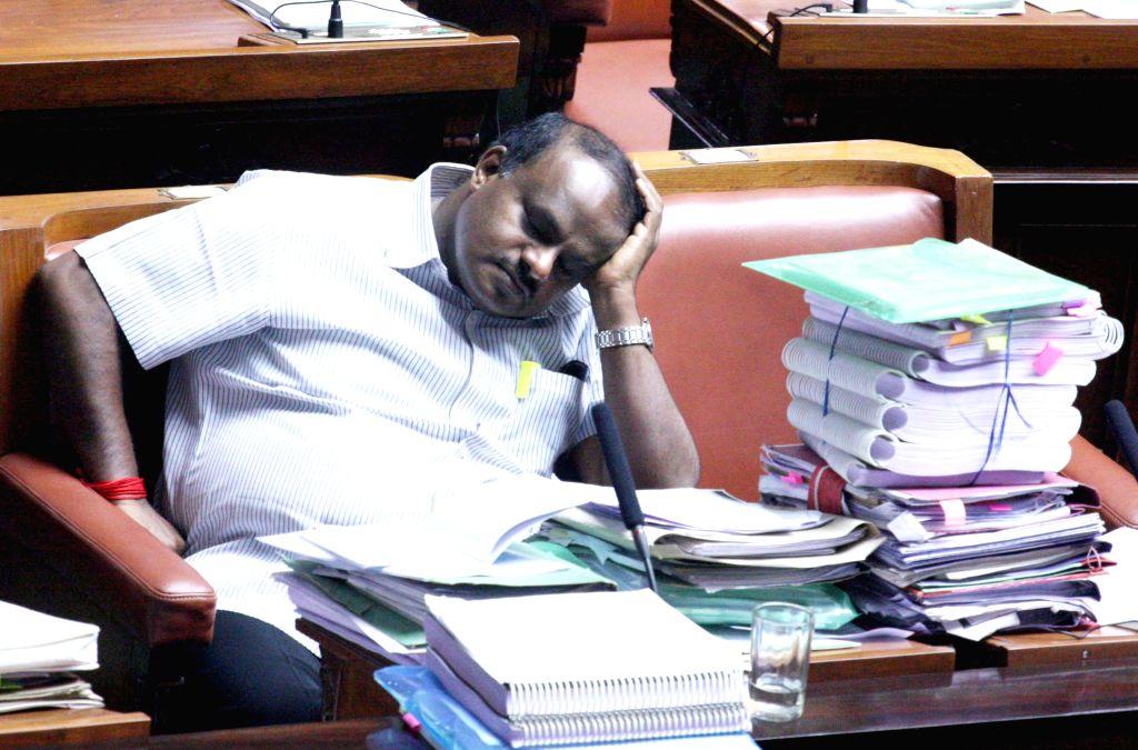 Former Karnataka Chief Minister H D Kumarswamy during Karnataka Assembly Session at Vidhan Soudha, in Bengaluru, on Feb 9, 2015. - H D Kumarswamy