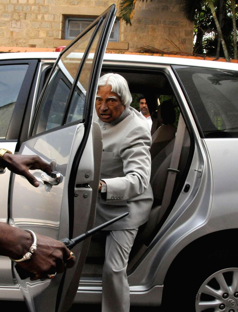 Former President of India Dr. A.P.J. Abdul Kalam arrives to innaugurate `Parikrama Festival of Science` - a five-day long festival revolving around water in Bengaluru, on Jan 19, 2015.