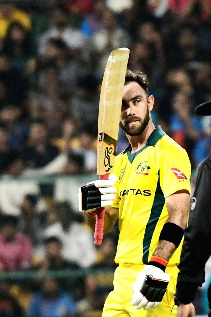 Bengaluru: Glenn Maxwell of Australia celebrates his century during the second T20I match between India and Australia at M Chinnaswamy Stadium in Bengaluru on Feb 27, 2019. (Photo: IANS)