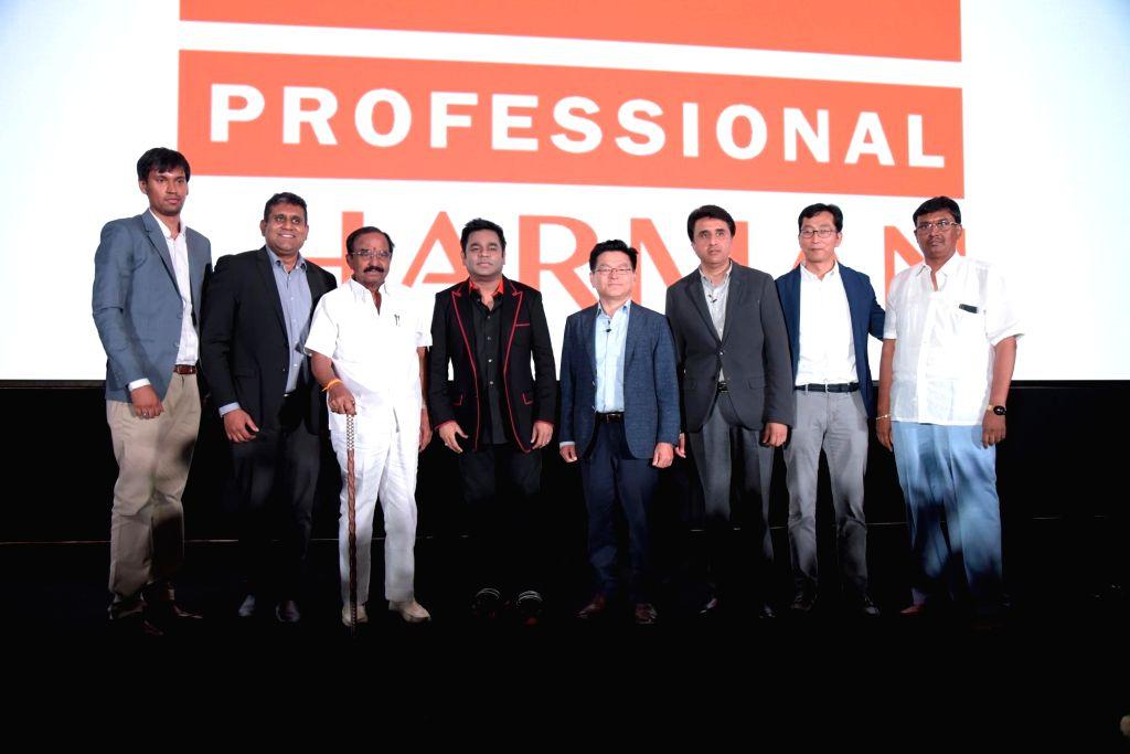 Bengaluru: HARMAN India and SAARC Head (Professional Solutions) Prashant Govindan, music composer A.R. Rahman, Samsung India Electronics Vice President (Enterprise Business) Puneet Sethi and Swagath Group of Cinemas Director Kishore P. at the launch
