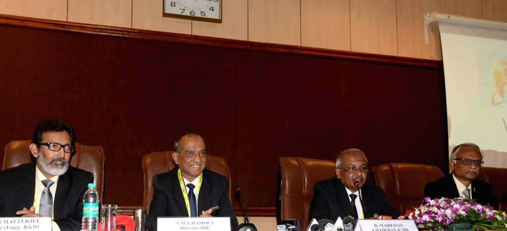 Bengaluru: Hindustan Aeronautics Limited (HAL) Chairman and Managing Director R Madhavan along with Director (Finance) CB Ananthakrishnan, Director (Engg., R&D) Arup Chatterjee and Director (HR) VM Chamola addresses a press conference on the sideline - Arup Chatterjee