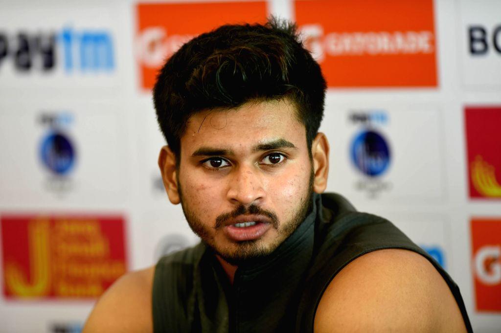 Bengaluru: India A captain Shreyas Iyer addresses a press conference, in Bengaluru, on  Aug 3, 2018 (Photo: IANS) - Shreyas Iyer
