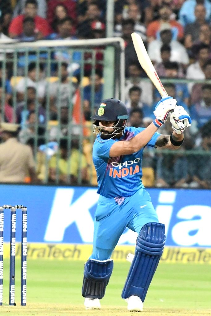 Bengaluru: India's Virat Kohli in action during the second T20I match between India and Australia at M Chinnaswamy Stadium in Bengaluru on Feb 27, 2019. (Photo: IANS) - Virat Kohli
