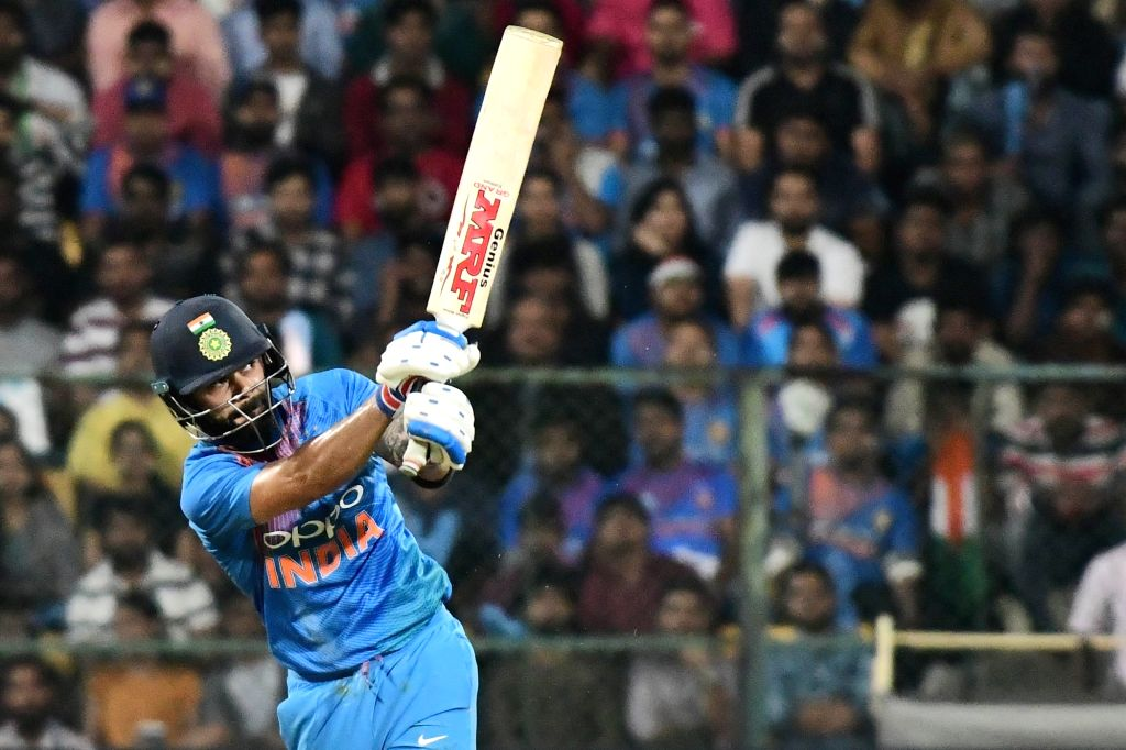 Bengaluru: India skipper Virat Kohli in action during the second T20I match between India and Australia at M Chinnaswamy Stadium in Bengaluru on Feb 27, 2019. (Photo: IANS) - Virat Kohli