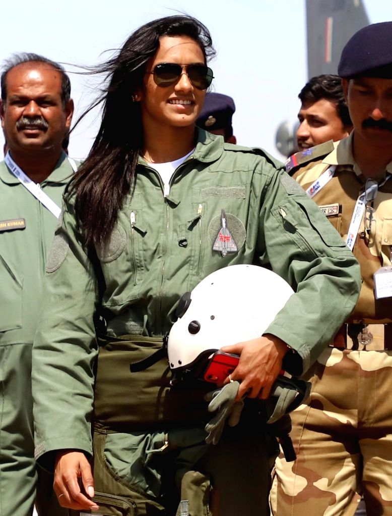 "Bengaluru: Indian badminton player PV Sindhu who flew in Tejas fighter aircraft during ""Aero India 2019"" - air show at Yelahanka Air Force Station, in Bengaluru, on Feb 23, 2019. (Photo: IANS)"