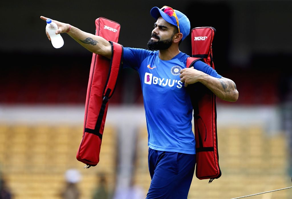 Bengaluru: Indian captain Virat Kohli during a practice session ahead of their last T20I match against South Africa, in Bengaluru on Sep 21, 2019. (Photo: Surjeet Yadav/IANS) - Virat Kohli and Surjeet Yadav