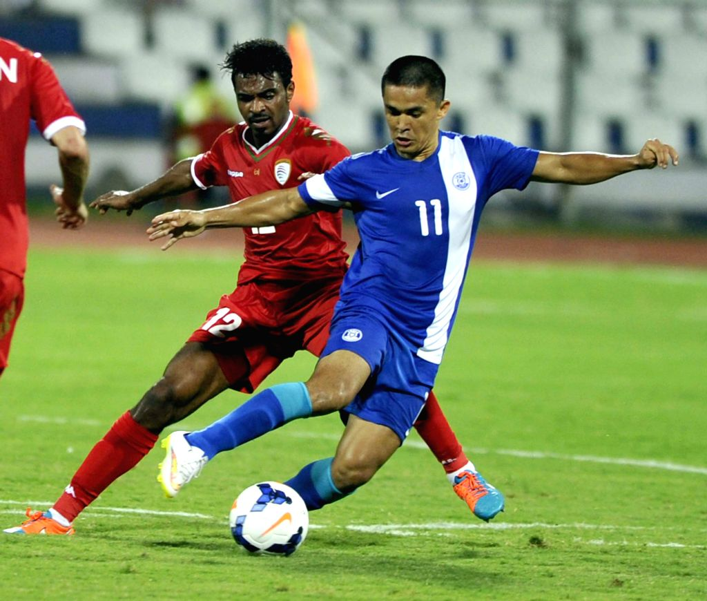 Bengaluru: Indian footballer Sunil Chetri in action during India vs Oman FIFA world cup 2018 qualifying match at Kanteerava Stadium, in Bengaluru on June 11, 2015. India lose 1-2. (Photo: IANS)