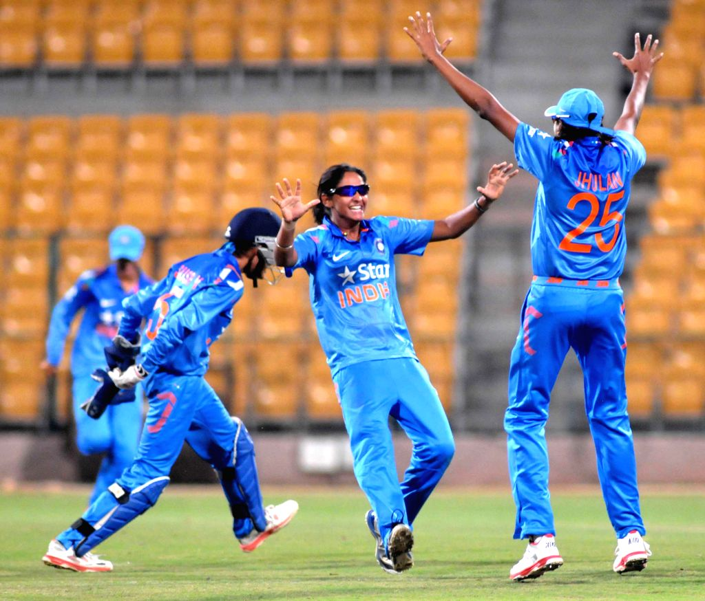 Indian players celebrates after the fall of wicket during South Africa v/s India Women first of the three womens One-Day Internationals at Chinnaswamy Stadium, in Bengaluru on Nov 24, ...