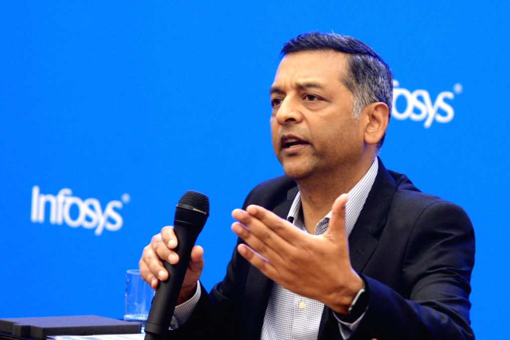 Bengaluru: Infosys CFO Nilanjan Roy addresses during a press conference to announce the company's second quarter (Q2) results for the fiscal year 2019-20, in Bengaluru on Oct 11, 2019. (Photo: IANS) - Nilanjan Roy