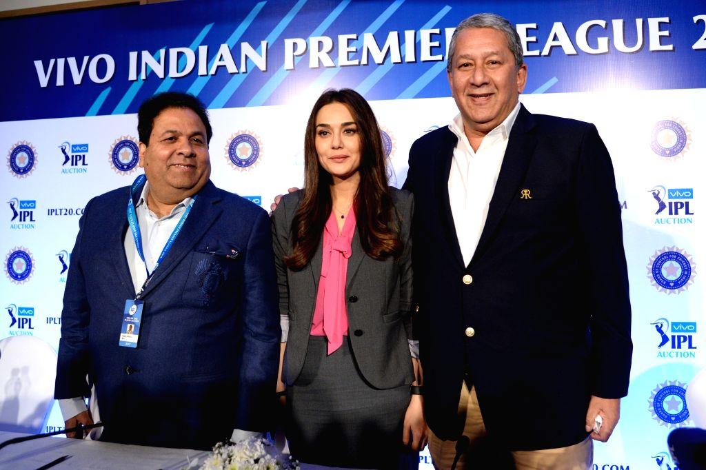 Bengaluru: IPL chairman Rajeev Shukla, Kings XI Punjab co-owner Preity Zinta and Rajasthan Royals Chairman and CEO Ranjit Barthakur at a press conference during Indian Premier League (IPL) Players' Auction in Bengaluru on Jan 28, 2018. (Photo: IANS) - Preity Zinta