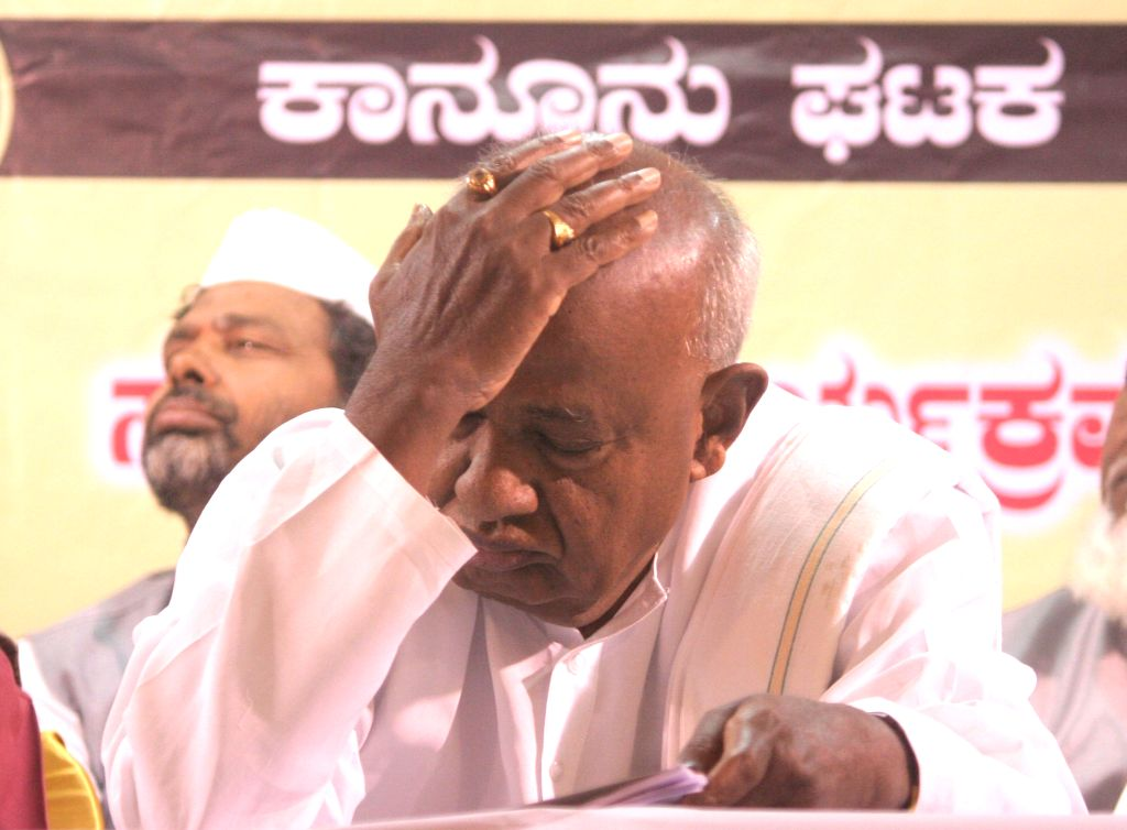 Bengaluru: JDS National President HD Devegowda during the party's legal cell interactive meeting in Bengaluru on July 6, 2016.