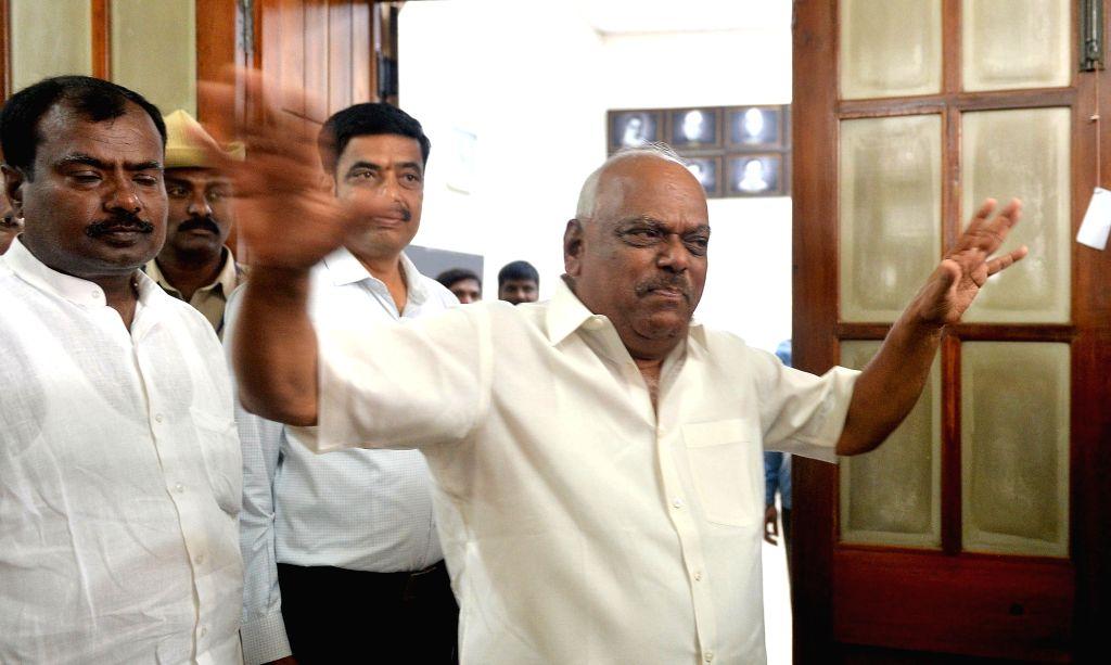 Bengaluru: Karnataka Assembly Speaker K.R. Ramesh Kumar talks to media personnel at Vidhana Soudha in Bengaluru, on July 9, 2019. (Photo: IANS) - K. and R. Ramesh Kumar