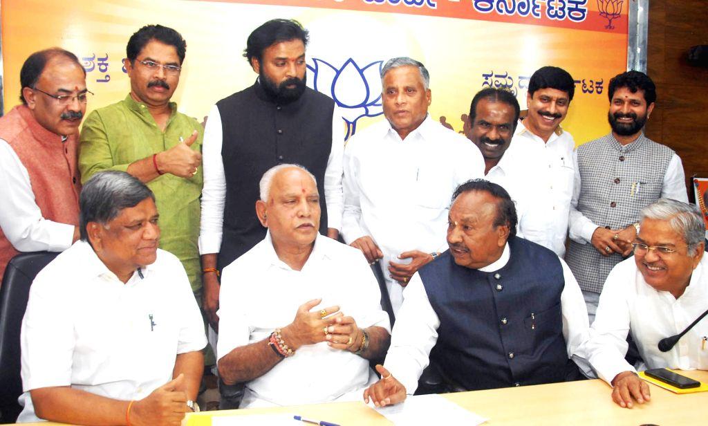 Bengaluru: Karnataka BJP President BS Yeddiyurappa with party leaders Jagadish Shetter, KS Eshwarappa, Sri Ramulu and V Somanna during a party legislators meeting, in Bengaluru on July 8, 2019. (Photo: IANS)