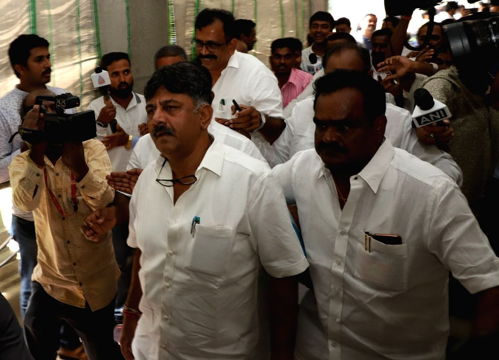 Bengaluru: Karnataka Cabinet Minister D.K. Shivakumar arrives at the state assembly to meet the rebel MLAs of Congress and JD-S who had reached there to submit their resignations to the Assembly Speaker, in Bengaluru on July 6, 2019. (Photo: IANS) - D.